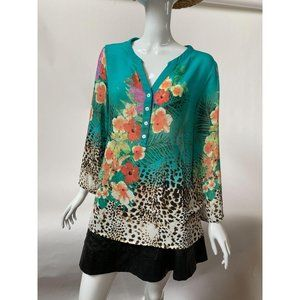 Soft Surroundings Style 37886 Teal Tropical Top